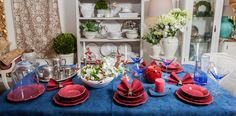 🌿Decorate a gorgeous table for special occasions! Do not hesitate to accentuate colours by combining red with blue! ❤️💙