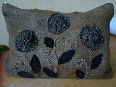 pillow from wool & denim