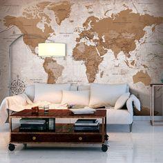murando - Papier peint intissé 300x210 cm - 8 couleurs au choix- Papier peint - Trompe l oeil - Tableaux muraux - Déco - XXL -Carte du Monde Continente k-A-0108-a-a: Amazon.fr: Bricolage