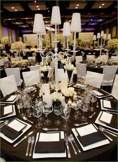 Black & White Wedding Table setting love the way this looks!  The whole atmosphere!! Just needs teal