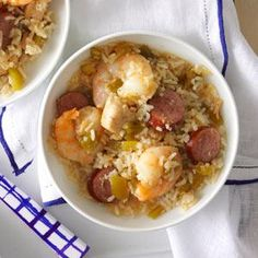 "Gulf Coast Jambalaya Rice 1lb boneless skinless cx breast 1"" cube 1lb smoked kielbasa 1/4"" slices 2C cx stock 1 lg chop green pepper 1C chop sweet onion 2 chop celery ribs 2 mince garlic cloves 2tsp Creole seasoning 1tsp seafood seasoning 1tsp pepper 1lb uncook med peeled deveined shrimp, 2 C. uncook Minute® White Rice Place the 1st 10 ingredients in 5-qt. slow cooker. Cook low 3-4 hrs til chicken is tender. Stir in shrimp&rice. Cook covered 15-20 min longer until shrimp turn pink & rice…"
