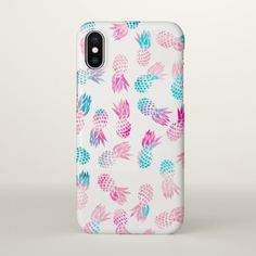 7745cd2f35a259 Pink and teal watercolor pineapple pattern iPhone X case. #affiliatelink  #advertisement Iphone 10