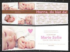 Baby- & Geburtskarten - Individuelle Geburtskarten ♥ Baby ist da ♥ Karte - ein Designerstück von grafikliebe bei DaWanda