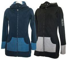 Damen-Fleece-Longjacke STEFFI navy-blau und schwarz-grau