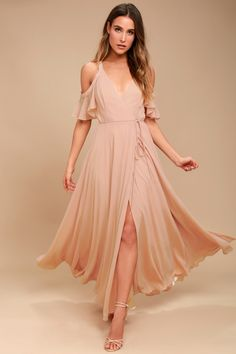 Glide across the dance floor in the Easy Listening Blush Off-the-Shoulder Wrap Maxi Dress! Lightweight Georgette wrap maxi dress with off-the-shoulder sleeves.
