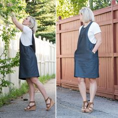 Thank you all so much for your enthusiasm for the York Pinafore! I am so excited to see Yorks already being made and I can't wait to see more. Pinafore Dress Outfit, Pinafore Dress Pattern, Demin Dress, Jumper Dress, Clothing Patterns, Dress Patterns, Sewing Patterns, Simple Dresses, Dresses For Work