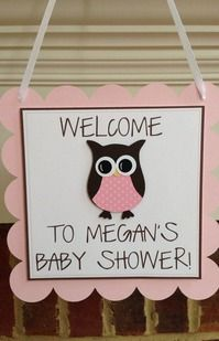 OWL BABY SHOWER Decor Welcome Door Sign