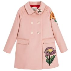 Gucci - Girls Pink Wool & Cashmere Embroidered Coat | Childrensalon
