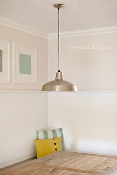DIY Kitchen Banquette - Beadboard Paneling and Warehouse Pendant