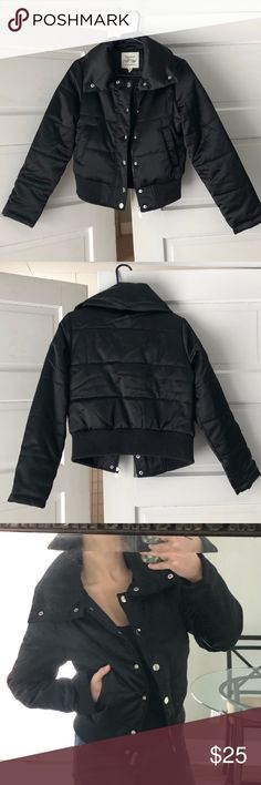 Black puffer coat Black puffer coat with silver buttons and a zipper Jackets & Coats Black Puffer Coat, Silver Buttons, Male Models, Motorcycle Jacket, Leather Jacket, Coats, Zipper, Best Deals, Jackets