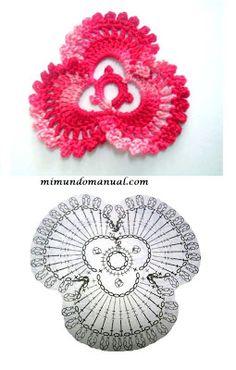 FLORES TEJIDAS A CROCHET CON PATRONES GRAFICOS | Patrones Crochet, Manualidades y Reciclado