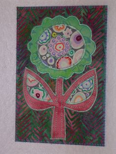 Flower -HAPPY FLOWER- Whimsical Quilted Appliqued Fabric Postcard-Send some happy