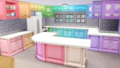 """Super colorful """"Berry Counter Recolors"""" of a basegame kitchen by noodles"""