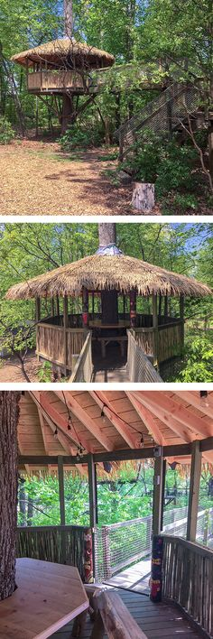 The treehouse was constructed in the shape of an octagon with a bridge that traverses over a walking trail. Authentic Bamboo sticks line the lower portion of the treehouse with synthetic thatch covering the roof. The interior is complete with a permanent octagonal table surrounding the tree and eight custom made wooden benches.