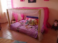 Montessori  Bed. Bet you could do this for boys but fort/tent like.