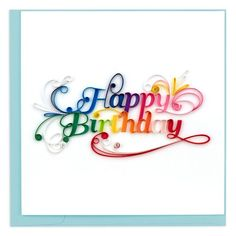 Give a colorful happy birthday wish with this bright handcrafted card. Each card in this line has been carefully handcrafted by artisans in Vietnam who enjoy practicing the skill of quilling and creating three-dimensional greeting cards. On average, it t Quilling Birthday Cards, Paper Quilling Cards, Quilling Letters, Quilling Work, Paper Quilling Patterns, Paper Quilling Jewelry, Quilled Paper Art, Quilling Craft, Quilling Ideas