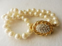 Jewelry for Bridal,Vtg Italian 1960 - ArtDeco beautiful and elegant high quality ,2-wire bracelet with pearls-Art.948-