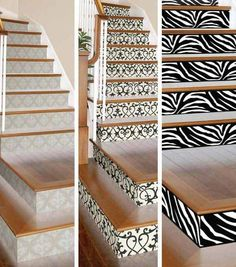 20 DIY Wallpapered Stair Risers Ideas: Bare white stairs transformed into a lovely new décor statement: