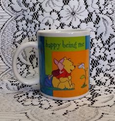 Disney Winnie the Pooh & Piglet coffee cup mug Happy Being Me Houston Harvest
