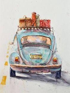 old truck watercolor paintings ile ilgili görsel sonucu #watercolorarts