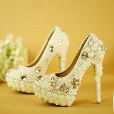 75.00$  Watch here - http://ali5ld.worldwells.pw/go.php?t=32753338241 - New white pearl wedding shoe 14cm ultra-high heel flower platform shoe dress shoes women's pumps free shipping 75.00$