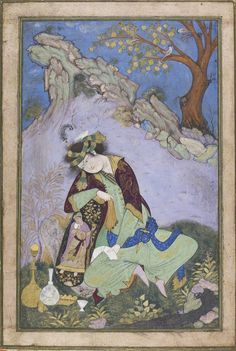 A Youth in Persian Costume. India, Golconda, c. 1630-40. Opaque pigments with gold on paper. Folio: 28.5 x 19 cm; Painting: 20.4 x 13.2 cm © Francesca Galloway