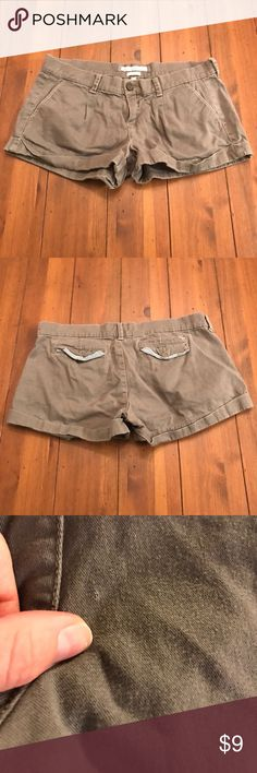 Abercrombie & Fitch Grey (hint of green) Shorts Abercrombie & Fitch Grey (hint of green) Shorts • Size: 4 • Cotton, Elastane • Used but good condition • Small rip almost hole in back and some pilling. • Original Price: $54 Abercrombie & Fitch Shorts