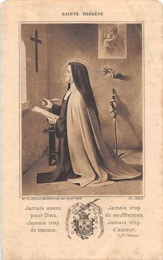 Ora et Labora Sainte Therese, St Therese Of Lisieux, Religious Education, Religious Art, Saint Teresa Of Avila, Vintage Holy Cards, Religion, Praying The Rosary, Immaculate Conception