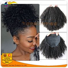 Human afro kinky curly hair ponytail brazilian hair drawstring ponytail - March 24 2019 at Curly Hair Ponytail, Kinky Curly Hair, Short Curly Hair, Ponytail Hairstyles, Curly Hair Styles, Natural Hair Styles, Hairdos, Frizzy Hair, Black Hairstyles