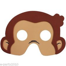 CURIOUS GEORGE FOAM MASKS (4) ~ Birthday Party Supplies Favors Monkey Costume