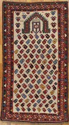 Shirvan prayer rug from Eastern Caucasus Age: dated Christian date Measurements: cm) Prayer Rug, Tribal Rug, Paisley Design, Persian Rug, Rugs On Carpet, Bohemian Rug, Hand Weaving, Prayers, Textiles