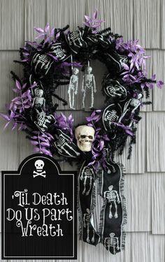 til death do us part spooky halloween skeleton wreath by AttaGirlSays.com