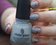 """China Glaze """"Pelican Gray"""" with multi-colored dots"""