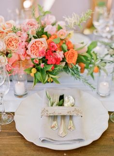 18 Spring Floral Table Setting Styles — the bohemian wedding Floral Wedding, Wedding Flowers, Orange Wedding, Boho Wedding, Wedding Colors, Wedding Reception, Dream Wedding, Wedding Dresses, Wedding Centerpieces