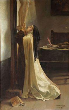 Santa Teresa a los pies de Jesús