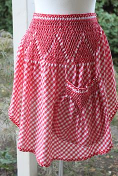 Red and White Chicken Scratch Vintage Apron.