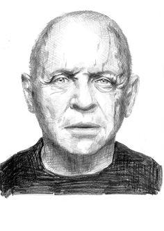 Rysunek ołówkiem na papierze, Anthony Hopkins