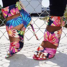 Floral Heels, Hot High Heels, Rainbow Print, 5 Inch Heels, Ankle Booties, Open Toe, Printing On Fabric, Booty, Prints
