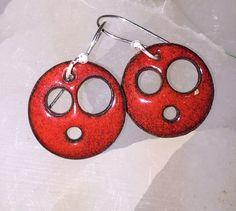 Funky Red Torch Enamel Earrings by ijewelry on Etsy