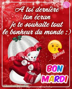 Bon Mardi, Elf On The Shelf, Messages, Christmas Ornaments, Holiday Decor, Good Night, Beautiful Christmas Pictures, Days Of Week, Inspirational Quotes