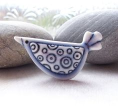 Porcelain Circle Design Bird Brooch by Ruth Robinson Ceramics