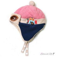 Kinder Piloten Mütze mit Teddy dunkel blau & rosa