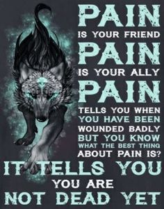 Pain is part of life and us but the hard part is how we deal with it that matters, a wolf will never show pain easily. Dark Quotes, Wisdom Quotes, True Quotes, Great Quotes, Motivational Quotes, Inspirational Quotes, Lone Wolf Quotes, Viking Quotes, Warrior Quotes