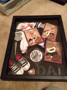 Fathers day idea for crafts! I like the idea of a theme and putting items in a frame/shadow box.