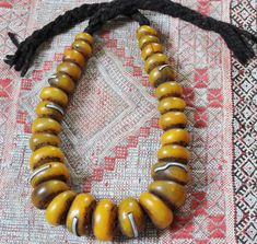 Amber Berber Saffran Heavy RESIN Beads with Metal Pieces Necklace, Morrocan Sahara