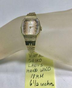 Vintage Seiko Ladys Hand Wind Bracelet Wristwatch Running 6 In Vintage Seiko Watches, Scarab Bracelet, Seiko Automatic, Seiko Men, Waterproof Watch, Watch Necklace, Bulova, Wristwatches, 1970s