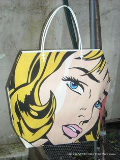 Roy Lichtenstein - Pop Art Shopping Bag designed by GIO'GATTO®1984 Torino, italia - Borsa di Carta Roy Lichtenstein - www.giogatto.com