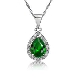 May Birthstone Tear Drop Necklace (Emerald Crystal) Item Type: Necklaces Fine or Fashion: Fashion Necklace Type: Chains Necklaces Metals Type: Silver Plated Shape\pattern: Geometric Gender: Women Styl