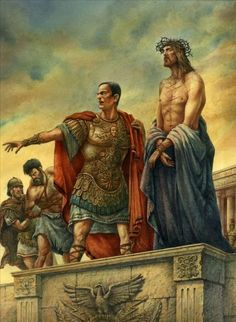 Jesus Pontius Pilate ~ Ecce Homo {Behold the Man} ~ artist Val Buchkov Religious Pictures, Bible Pictures, Jesus Pictures, Religious Paintings, Religious Art, Pontius Pilatus, Crucifixion Of Jesus, Jesus Painting, Christian Pictures