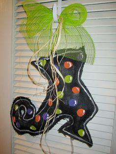 Burlap Witch Shoe Door Hanging Decoration